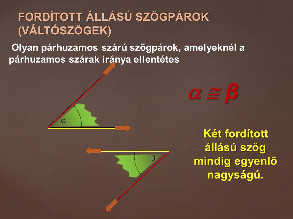 Két fordított állású szög mindig egyenlő nagyságú.