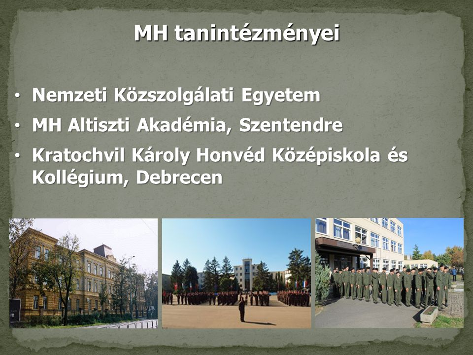 MH tanintézményei Nemzeti Közszolgálati Egyetem