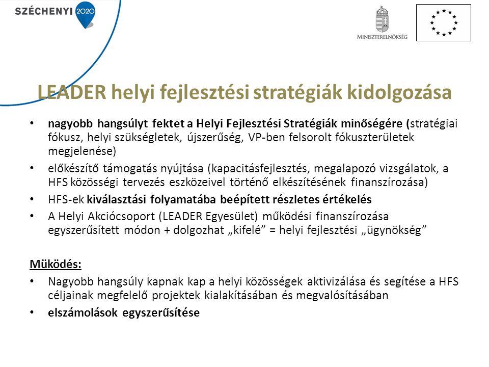 LEADER helyi fejlesztési stratégiák kidolgozása