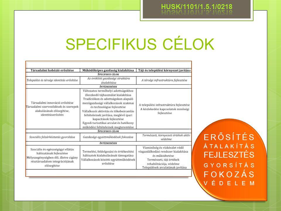 SPECIFIKUS CÉLOK ERŐSÍTÉS ÁTALAKÍTÁS FEJLESZTÉS HUSK/1101/1.5.1/0218