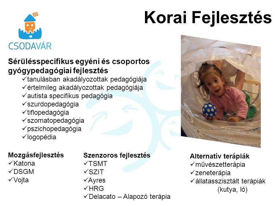 Korai Fejlesztés Sérülésspecifikus egyéni és csoportos gyógypedagógiai fejlesztés. tanulásban akadályozottak pedagógiája.
