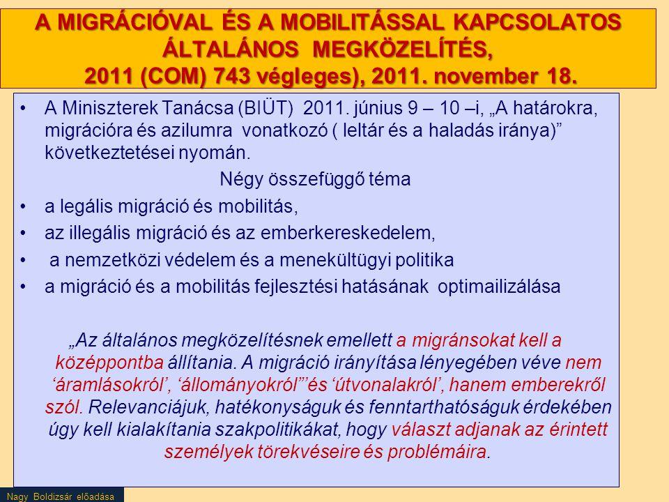 A MIGRÁCIÓVAL ÉS A MOBILITÁSSAL KAPCSOLATOS ÁLTALÁNOS MEGKÖZELÍTÉS, 2011 (COM) 743 végleges), 2011. november 18.