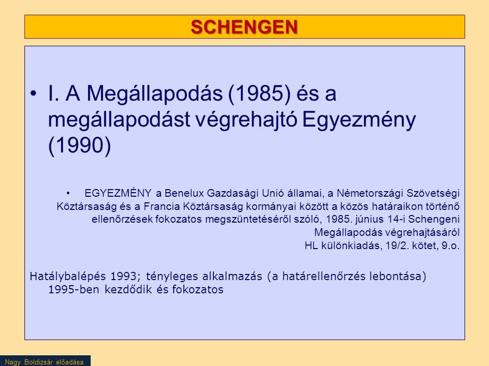 SCHENGEN I. A Megállapodás (1985) és a megállapodást végrehajtó Egyezmény (1990)