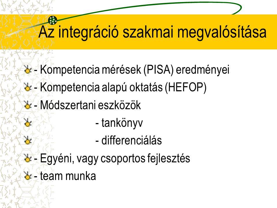 Az integráció szakmai megvalósítása