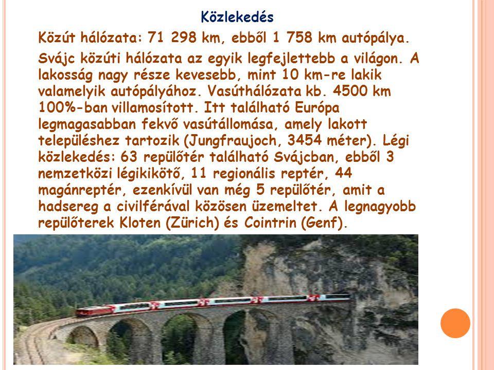 Közlekedés Közút hálózata: 71 298 km, ebből 1 758 km autópálya.