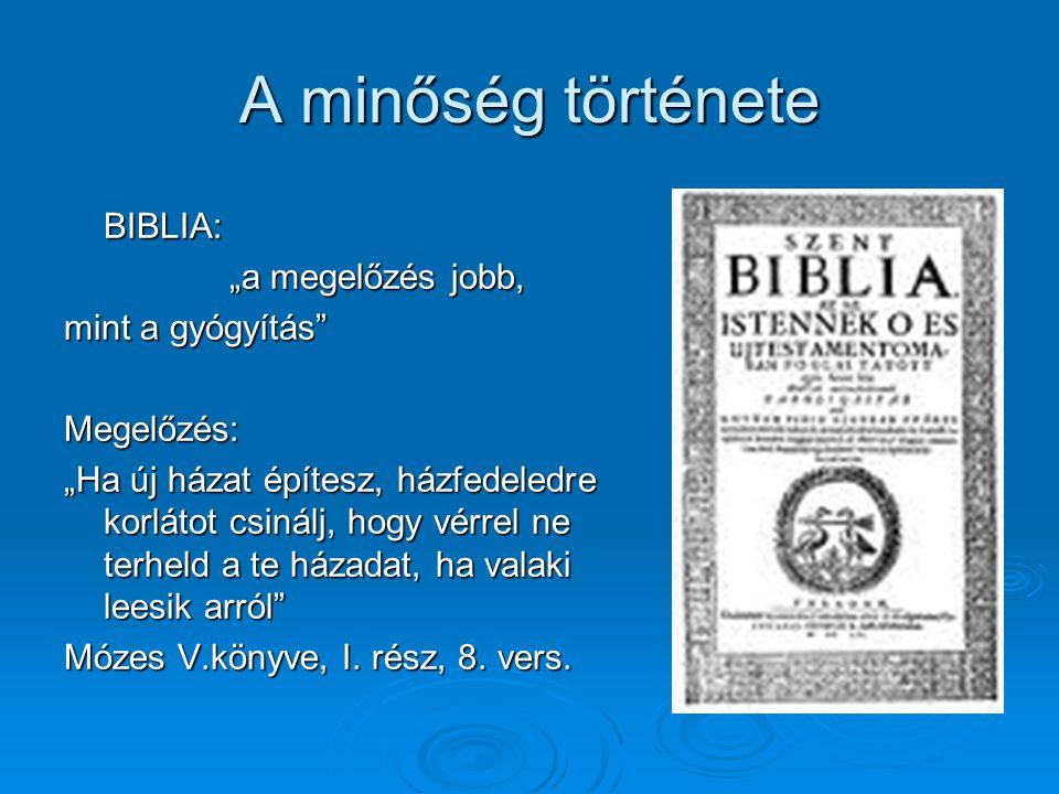 """A minőség története BIBLIA: """"a megelőzés jobb, mint a gyógyítás"""