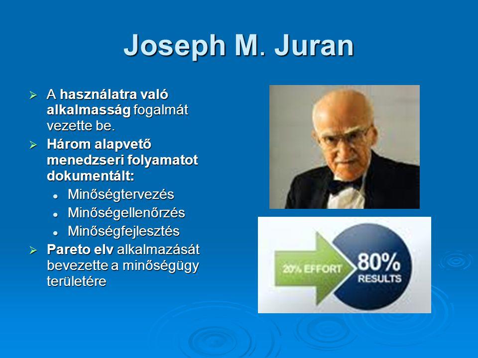 Joseph M. Juran A használatra való alkalmasság fogalmát vezette be.