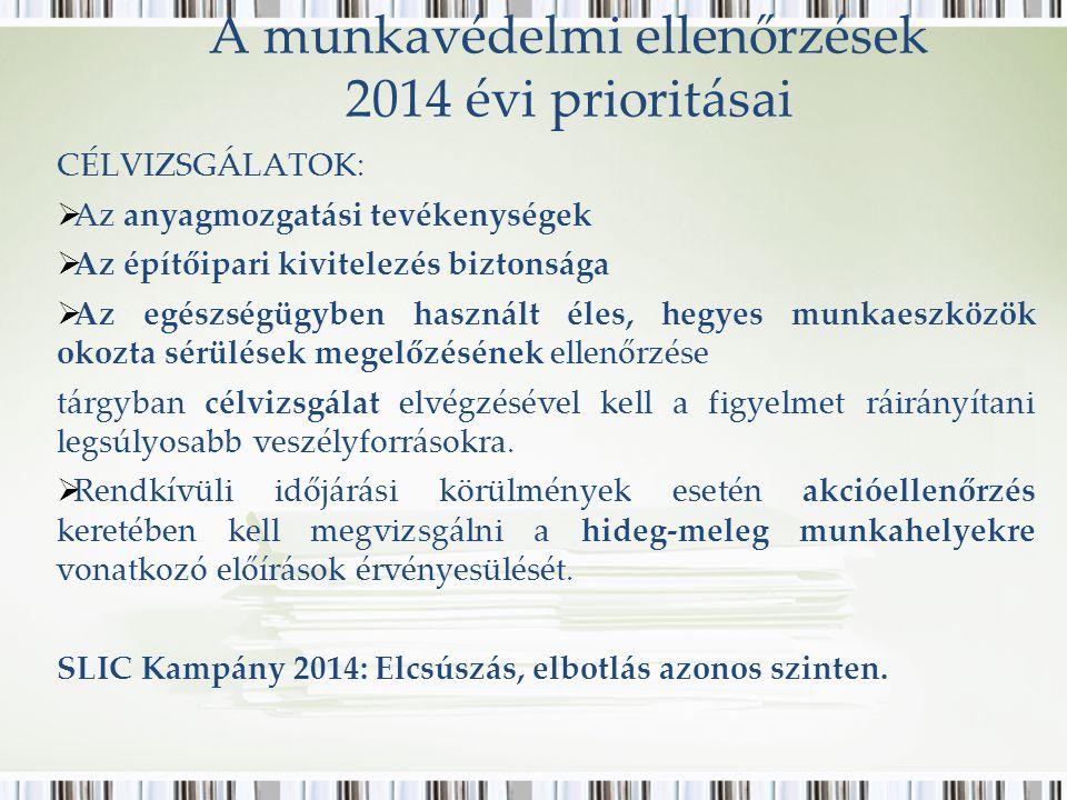 A munkavédelmi ellenőrzések 2014 évi prioritásai