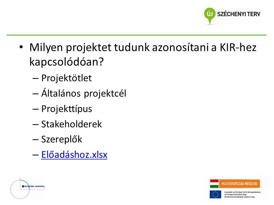 Milyen projektet tudunk azonosítani a KIR-hez kapcsolódóan