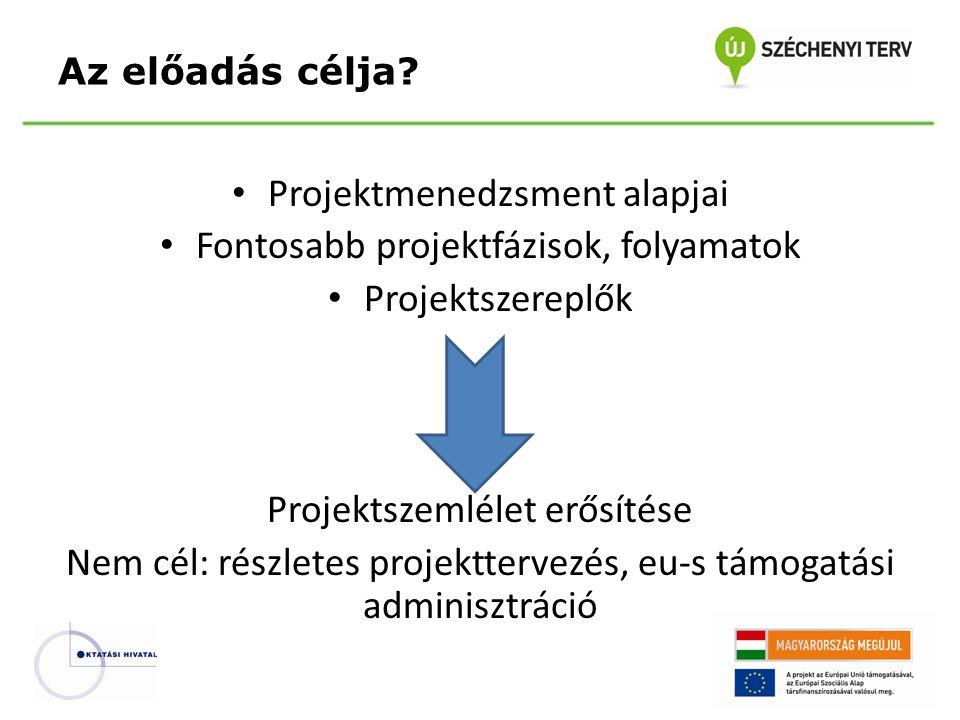 Projektmenedzsment alapjai Fontosabb projektfázisok, folyamatok