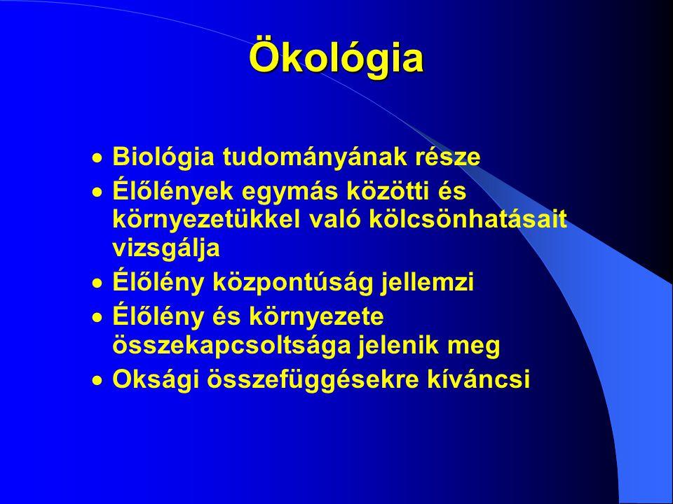 Ökológia  Biológia tudományának része