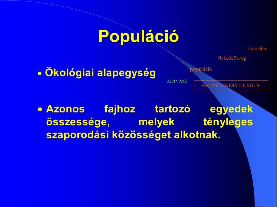 Populáció Ökológiai alapegység