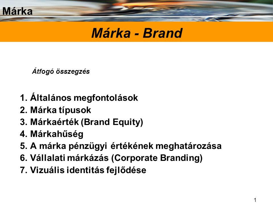 Márka - Brand Általános megfontolások Márka típusok