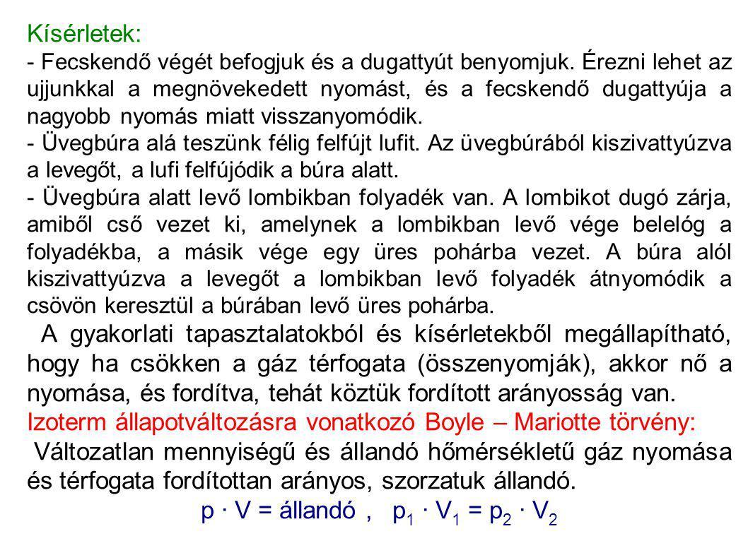 Izoterm állapotváltozásra vonatkozó Boyle – Mariotte törvény: