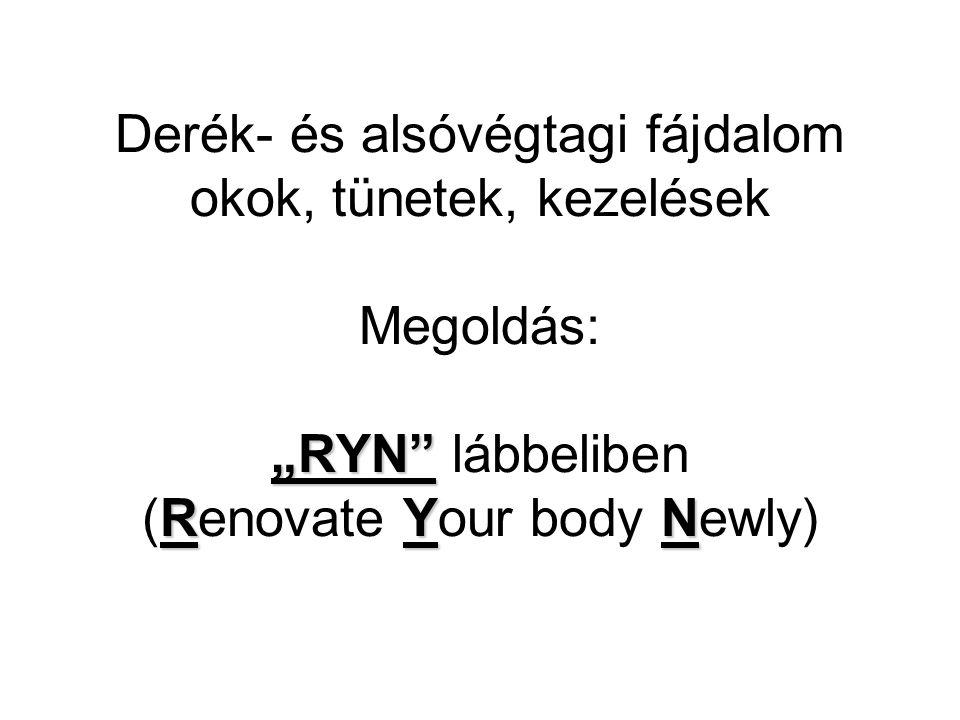 """Derék- és alsóvégtagi fájdalom okok, tünetek, kezelések Megoldás: """"RYN lábbeliben (Renovate Your body Newly)"""