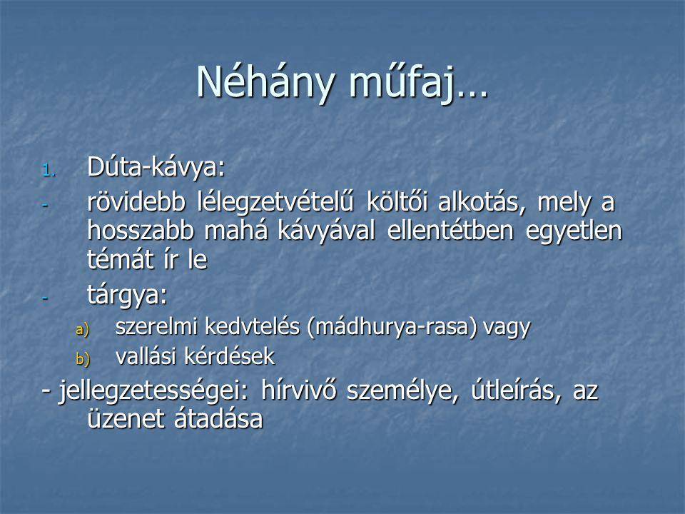 Néhány műfaj… Dúta-kávya: