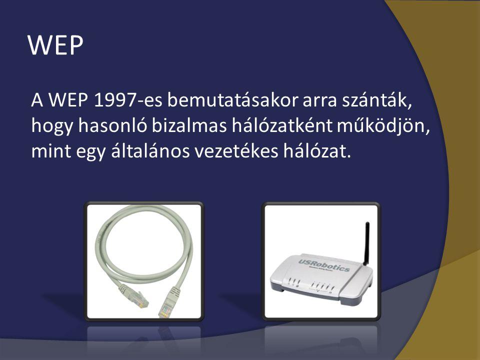 WEP A WEP 1997-es bemutatásakor arra szánták, hogy hasonló bizalmas hálózatként működjön, mint egy általános vezetékes hálózat.