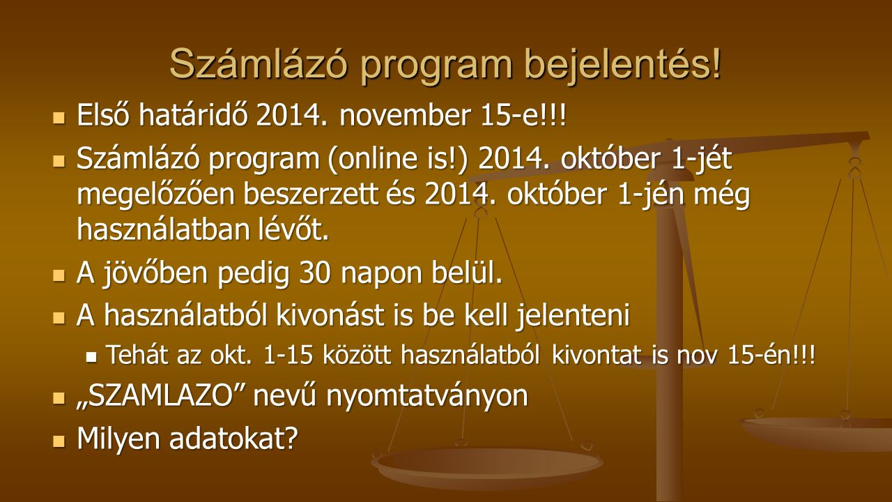 Számlázó program bejelentés!