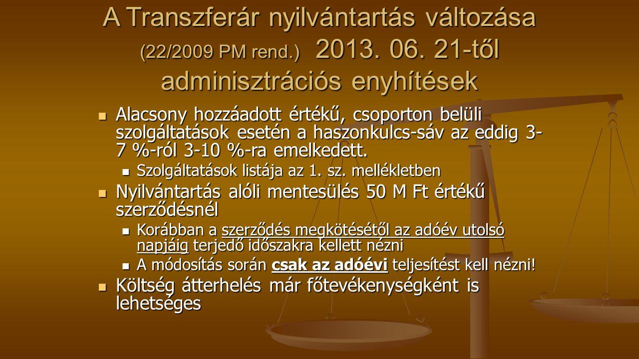 A Transzferár nyilvántartás változása (22/2009 PM rend. ) 2013. 06