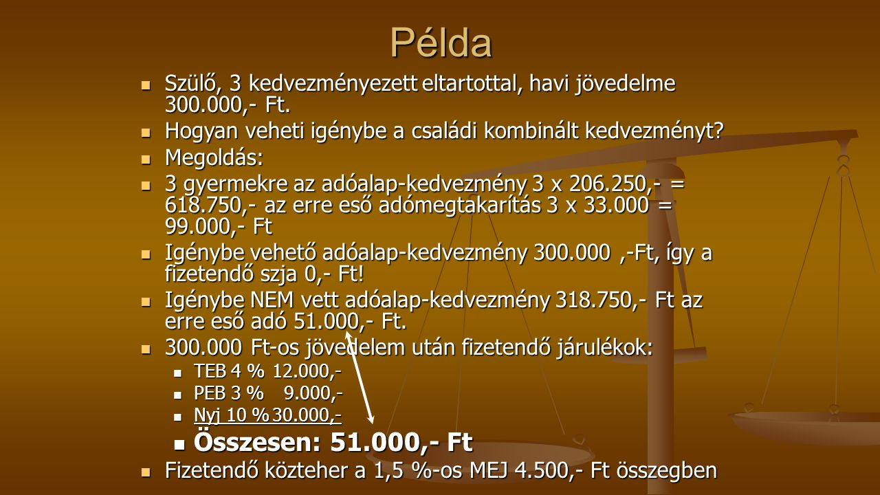 Példa Szülő, 3 kedvezményezett eltartottal, havi jövedelme 300.000,- Ft. Hogyan veheti igénybe a családi kombinált kedvezményt