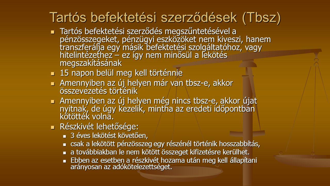 Tartós befektetési szerződések (Tbsz)