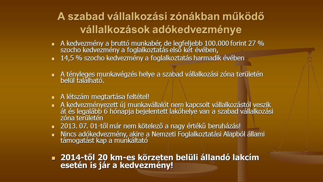 A szabad vállalkozási zónákban működő vállalkozások adókedvezménye