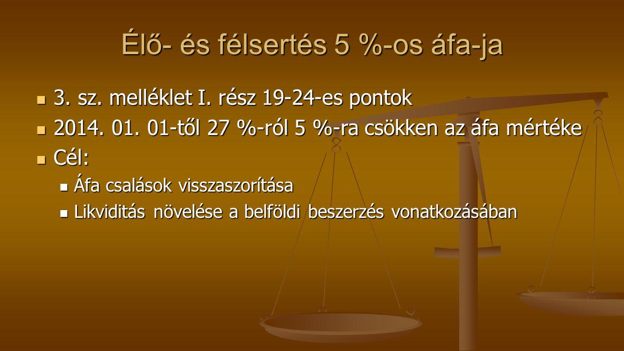 Élő- és félsertés 5 %-os áfa-ja
