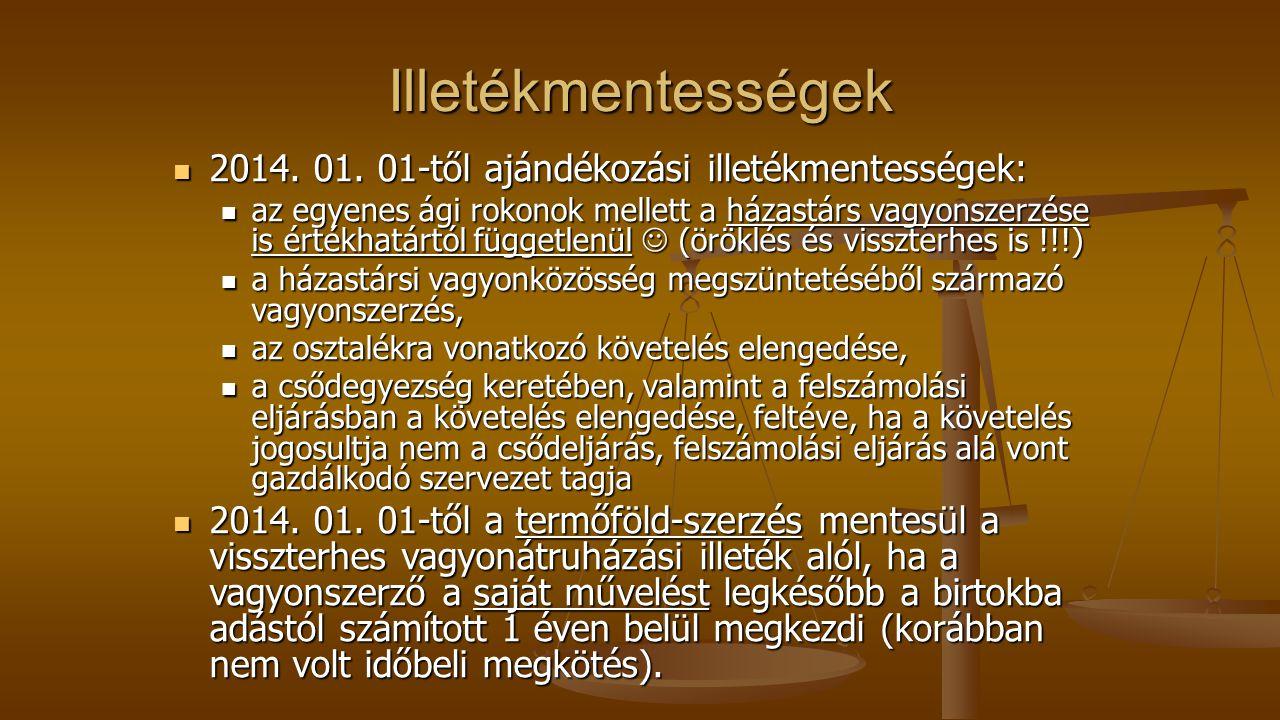 Illetékmentességek 2014. 01. 01-től ajándékozási illetékmentességek: