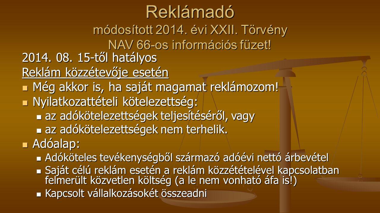 Reklámadó módosított 2014. évi XXII
