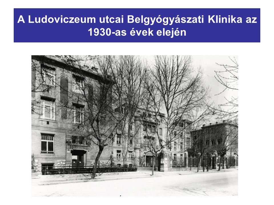 A Ludoviczeum utcai Belgyógyászati Klinika az 1930-as évek elején