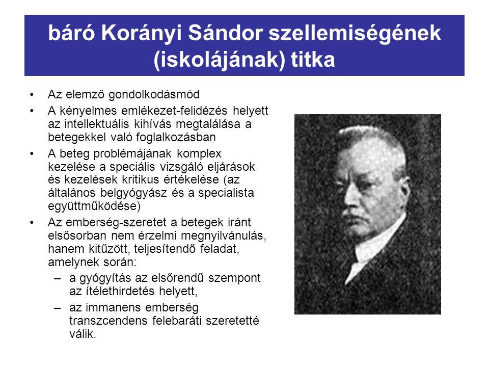 báró Korányi Sándor szellemiségének (iskolájának) titka