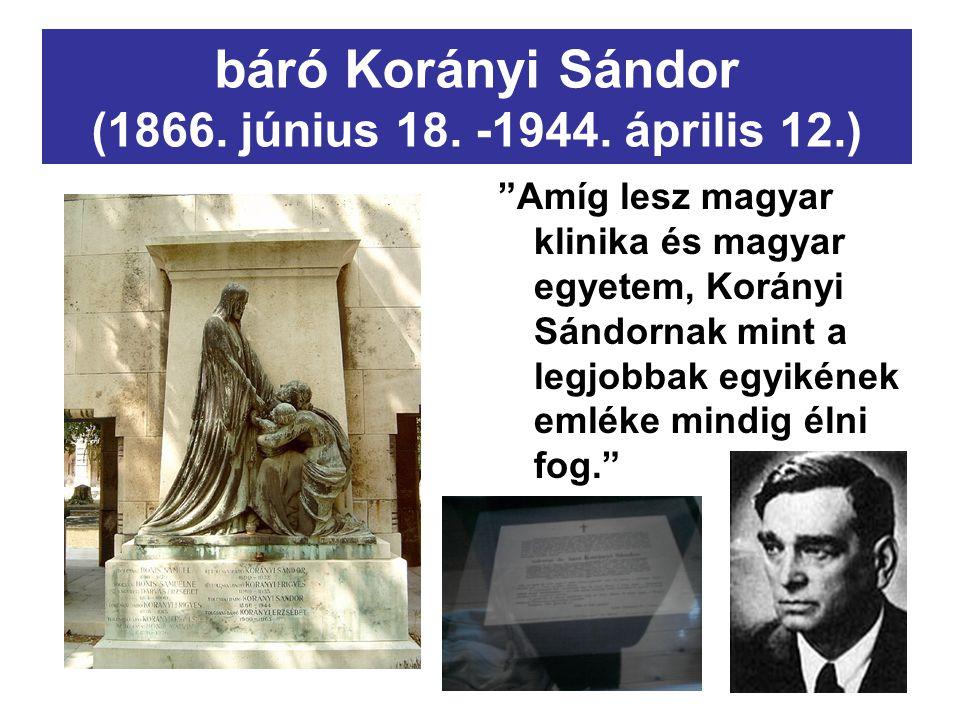 báró Korányi Sándor (1866. június 18. -1944. április 12.)