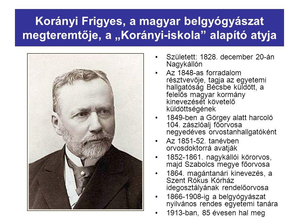 """Korányi Frigyes, a magyar belgyógyászat megteremtője, a """"Korányi-iskola alapító atyja"""