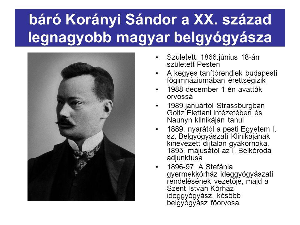 báró Korányi Sándor a XX. század legnagyobb magyar belgyógyásza
