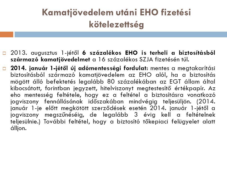 Kamatjövedelem utáni EHO fizetési kötelezettség