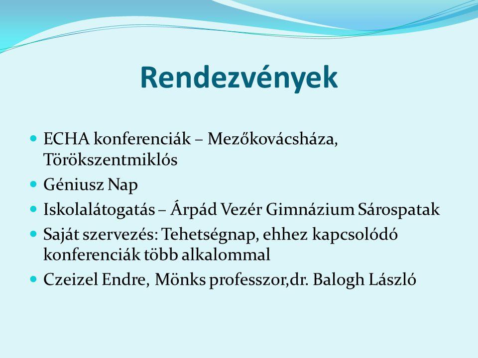 Rendezvények ECHA konferenciák – Mezőkovácsháza, Törökszentmiklós