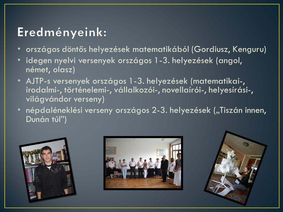 Eredményeink: országos döntős helyezések matematikából (Gordiusz, Kenguru) idegen nyelvi versenyek országos 1-3. helyezések (angol, német, olasz)