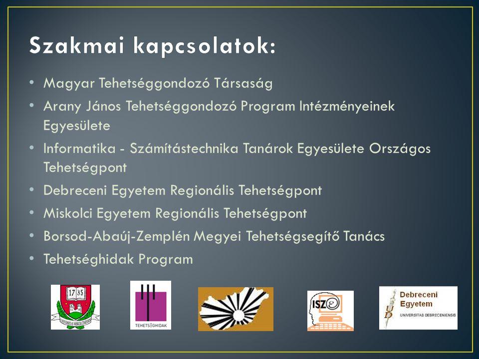 Szakmai kapcsolatok: Magyar Tehetséggondozó Társaság