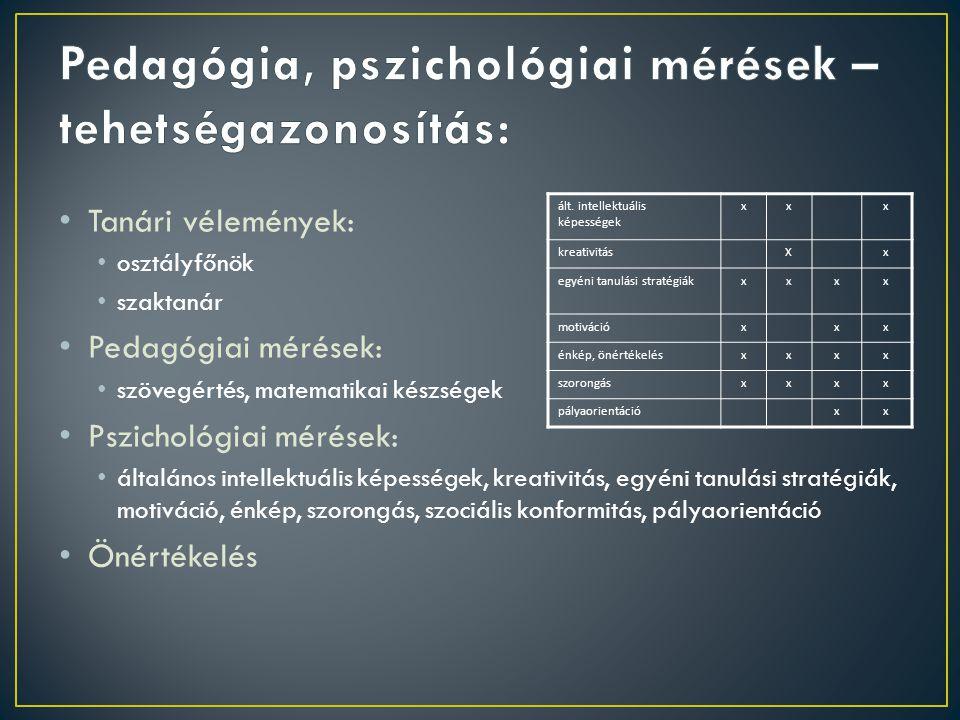 Pedagógia, pszichológiai mérések – tehetségazonosítás: