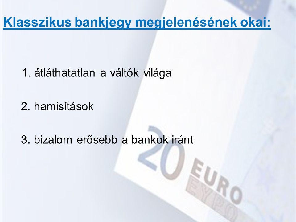 Klasszikus bankjegy megjelenésének okai: