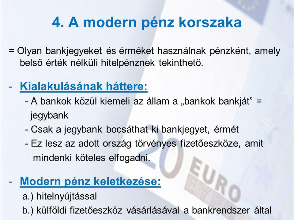 4. A modern pénz korszaka Kialakulásának háttere: