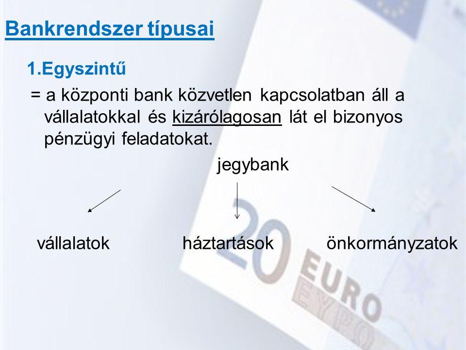 Bankrendszer típusai 1.Egyszintű jegybank