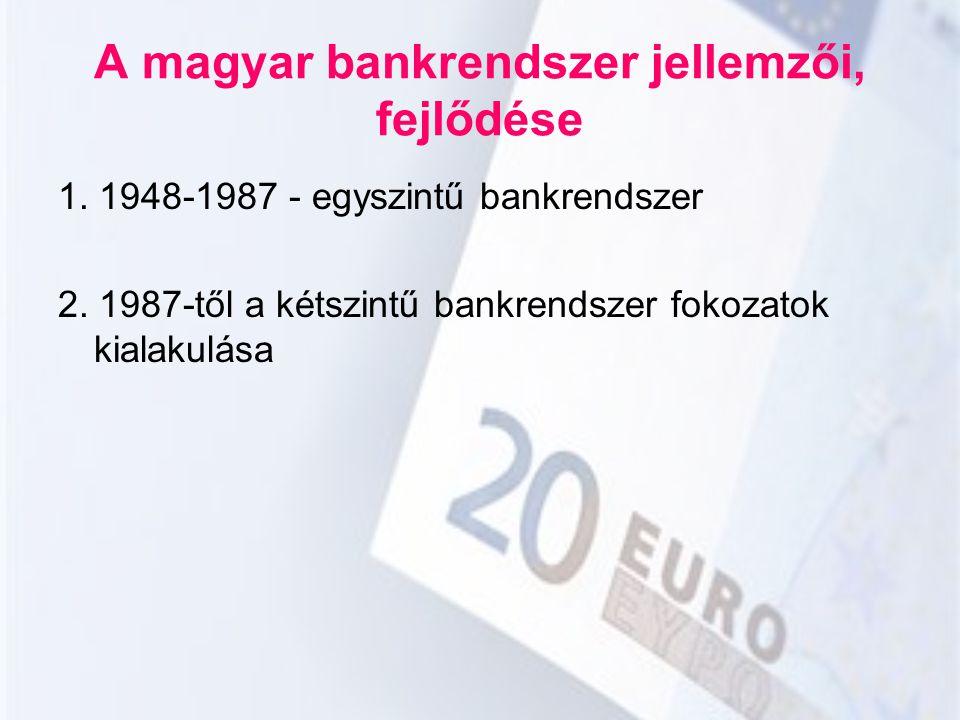 A magyar bankrendszer jellemzői, fejlődése