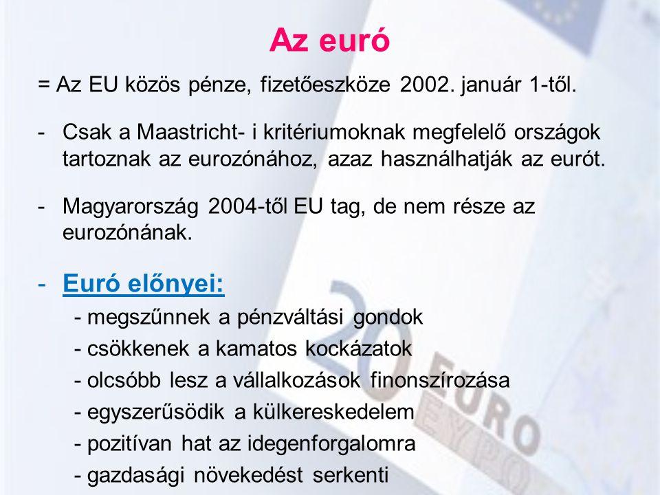 Az euró = Az EU közös pénze, fizetőeszköze 2002. január 1-től.