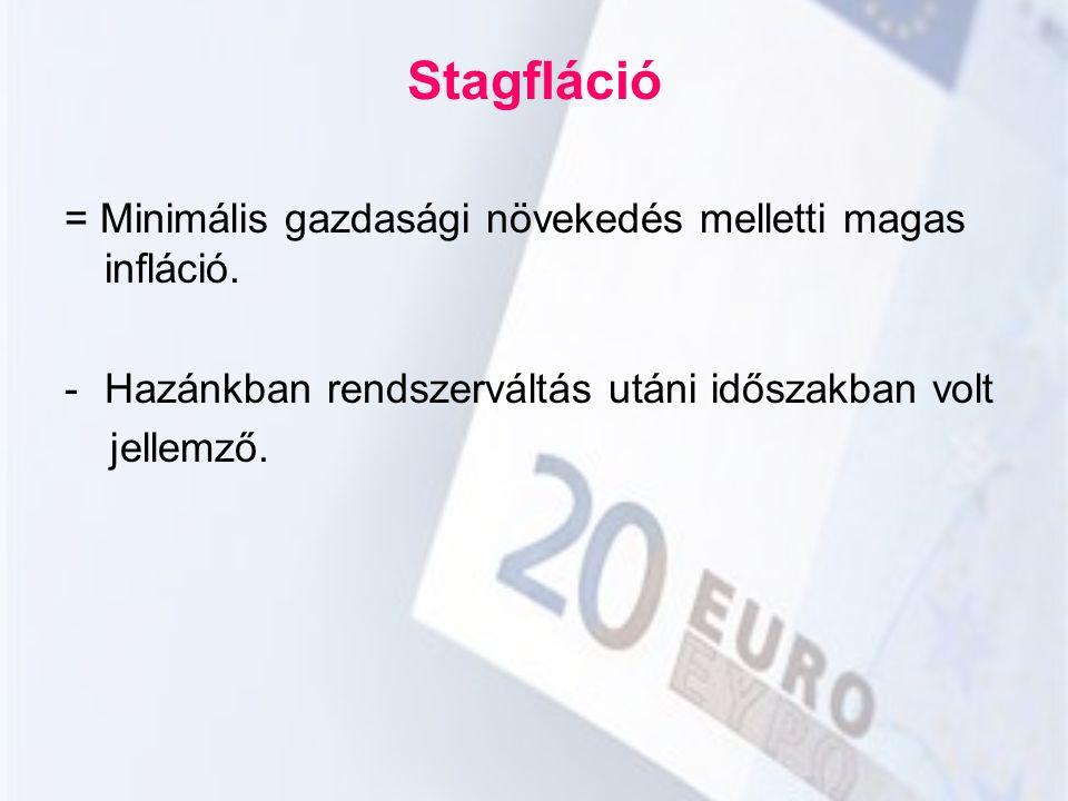 Stagfláció = Minimális gazdasági növekedés melletti magas infláció.