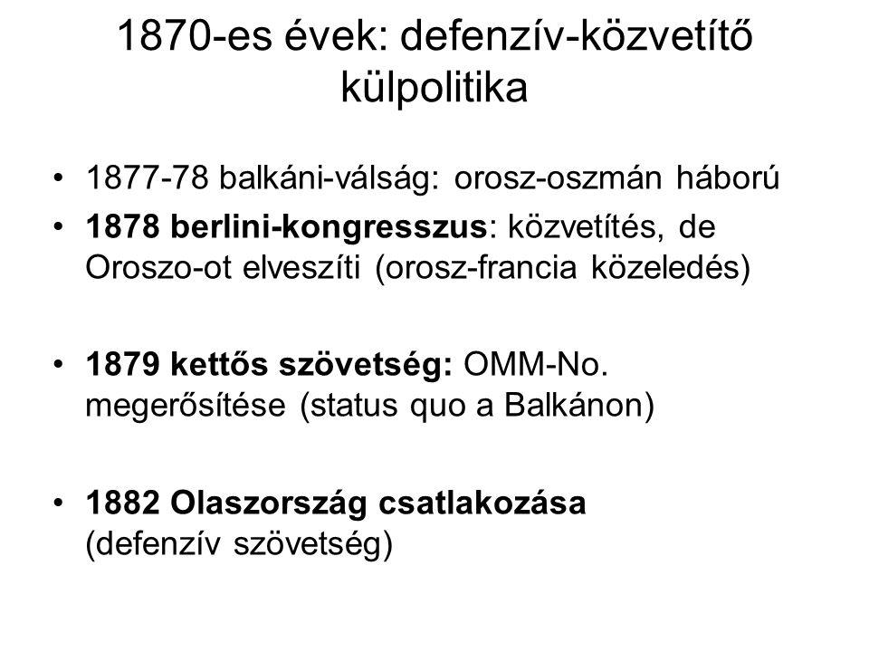 1870-es évek: defenzív-közvetítő külpolitika