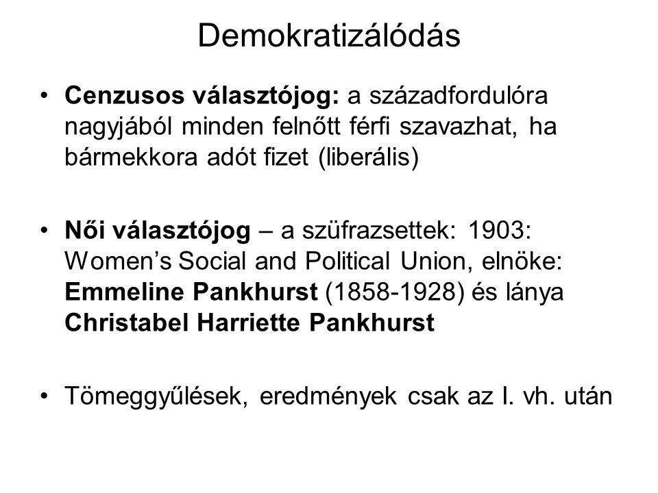 Demokratizálódás Cenzusos választójog: a századfordulóra nagyjából minden felnőtt férfi szavazhat, ha bármekkora adót fizet (liberális)