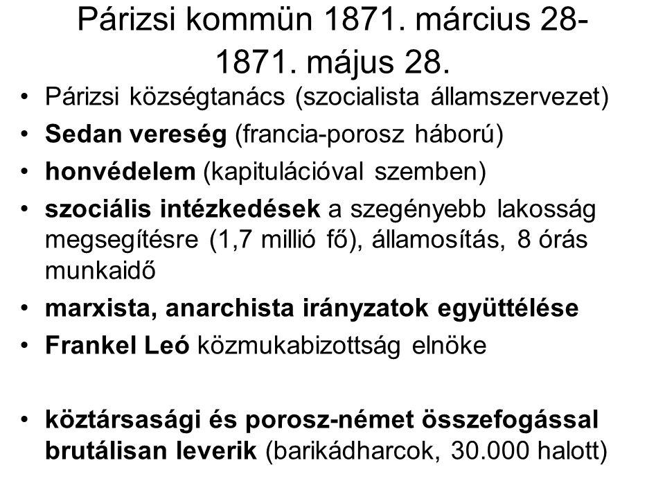 Párizsi kommün 1871. március 28- 1871. május 28.