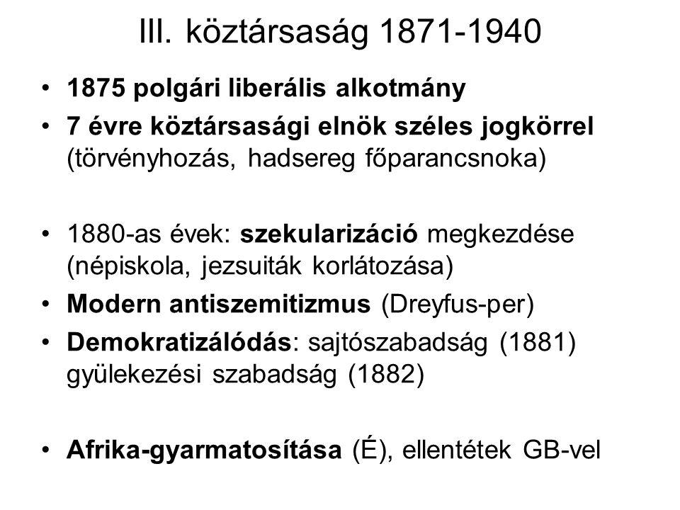 III. köztársaság 1871-1940 1875 polgári liberális alkotmány