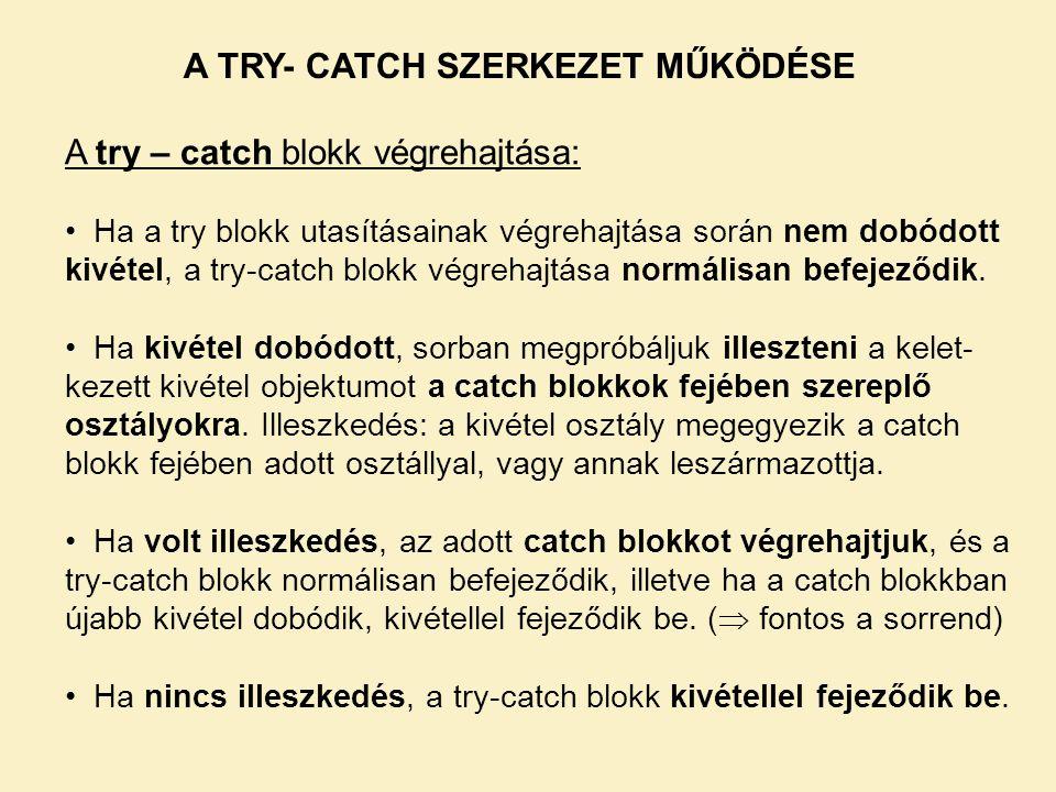 A TRY- CATCH SZERKEZET MŰKÖDÉSE